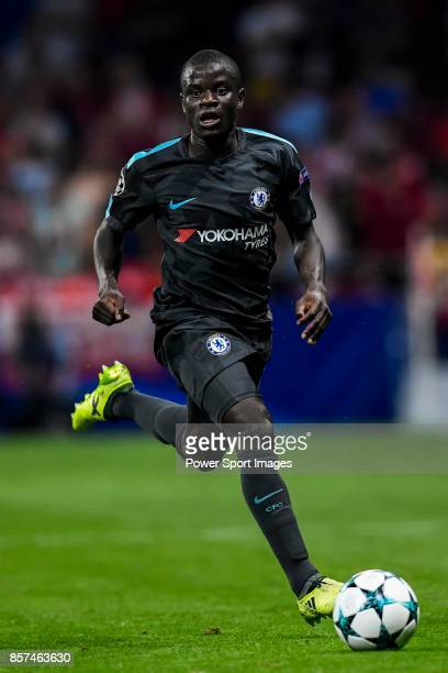 Golo Kante of Chelsea FC in action during the UEFA Champions League 201718 match between Atletico de Madrid and Chelsea FC at the Wanda Metropolitano...