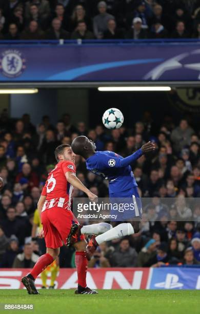 Golo Kante of Chelsea FC in action during the UEFA Champions League Group C soccer match between Chelsea FC and Atletico Madrid at Stamford Bridge in...