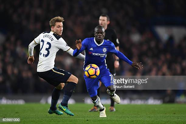Golo Kante of Chelsea goes past Christian Eriksen of Tottenham Hotspur during the Premier League match between Chelsea and Tottenham Hotspur at...