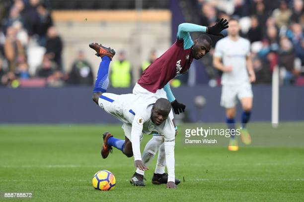 Golo Kante of Chelsea goes to ground after a challenge from Pedro Obiang of West Ham United during the Premier League match between West Ham United...
