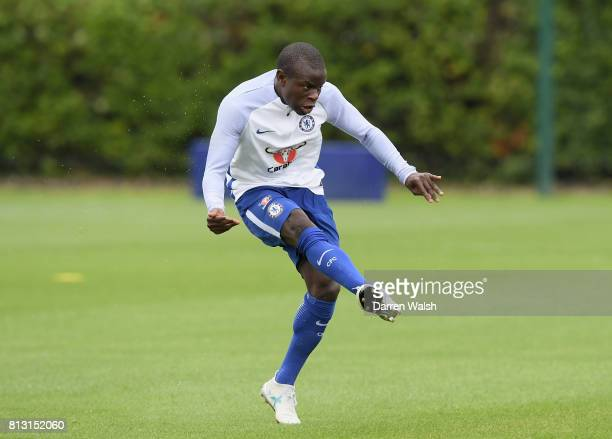 Golo Kante of Chelsea in action during a training session at Chelsea Training Ground on July 12 2017 in Cobham England