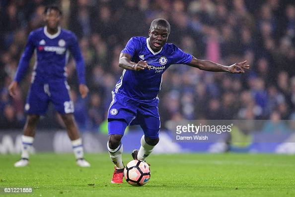 Golo Kante of Chelsea in action during The Emirates FA Cup Third Round match between Chelsea and Peterborough United at Stamford Bridge on January 8...