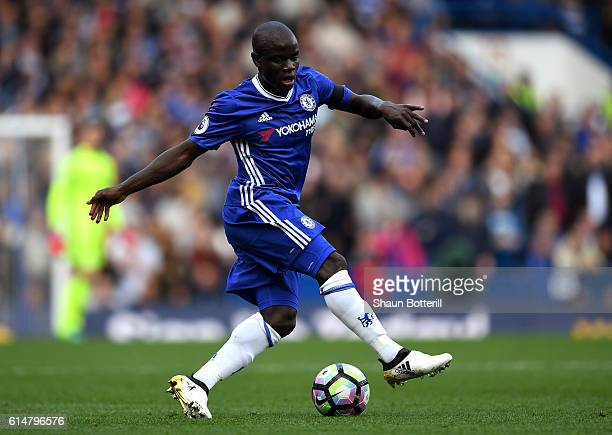 Golo Kante of Chelsea in action during the Premier League match between Chelsea and Leicester City at Stamford Bridge on October 15 2016 in London...