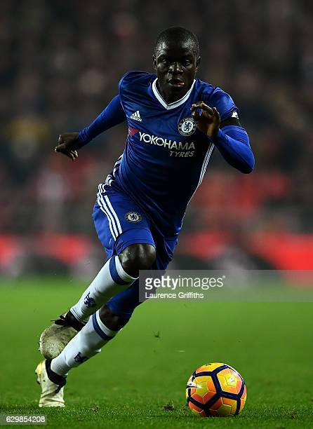 Golo Kante of Chelsea in action during the Premier League match between Sunderland and Chelsea at Stadium of Light on December 14 2016 in Sunderland...