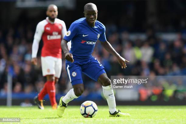 Golo Kante of Chelsea in action during the Premier League match between Chelsea and Arsenal at Stamford Bridge on September 17 2017 in London England