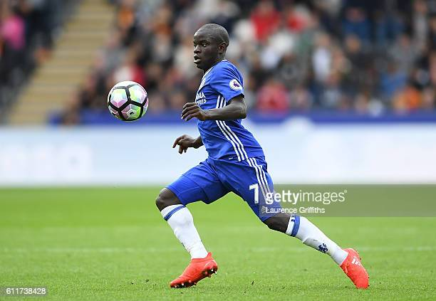 Golo Kante of Chelsea in action during the Premier League match between Hull City and Chelsea at KCOM Stadium on October 1 2016 in Hull England