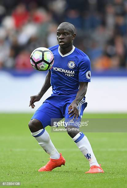 Golo Kante of Chelsea in action during the Premier League match between Hull City and Chelsea at KC Stadium on October 1 2016 in Hull England