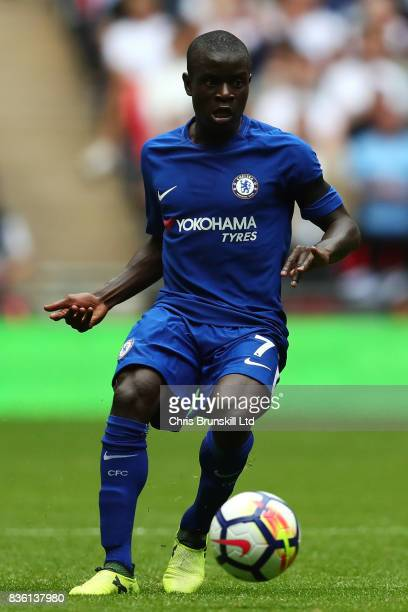 Golo Kante of Chelsea in action during the Premier League match between Tottenham Hotspur and Chelsea at Wembley Stadium on August 20 2017 in London...