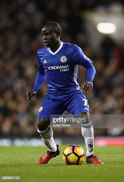 Golo Kante of Chelsea in action during the the Premier League match between Tottenham Hotspur and Chelsea at White Hart Lane on January 4 2017 in...