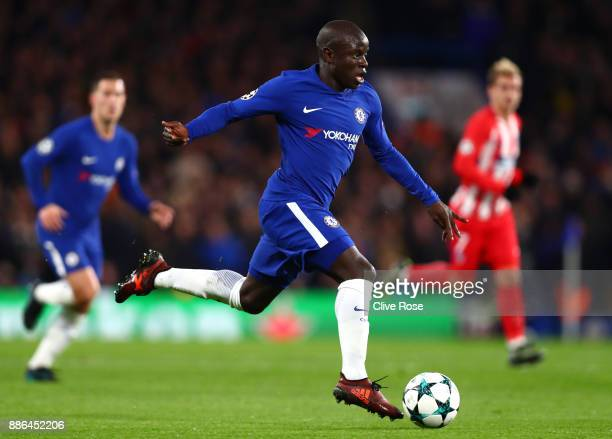 Golo Kante of Chelsea in action during the UEFA Champions League group C match between Chelsea FC and Atletico Madrid at Stamford Bridge on December...