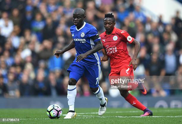 Golo Kante of Chelsea is closed down by Ahmed Musa of Leicester City during the Premier League match between Chelsea and Leicester City at Stamford...