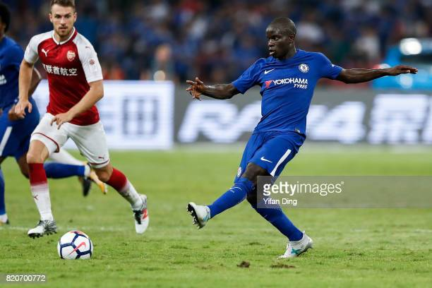 Golo Kante of Chelsea passes during the PreSeason Friendly match between Arsenal FC and Chelsea FC at Birds Nest on July 22 2017 in Beijing China