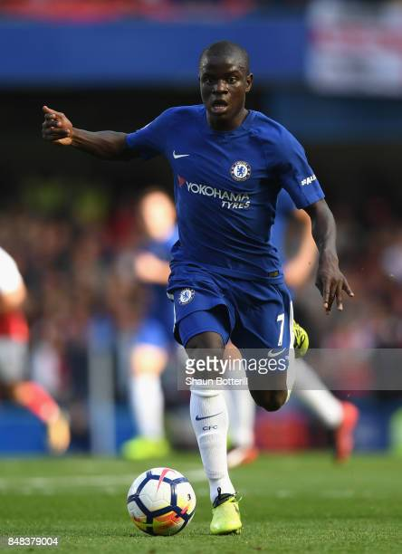 Golo Kante of Chelsea runs with the ball during the Premier League match between Chelsea and Arsenal at Stamford Bridge on September 17 2017 in...