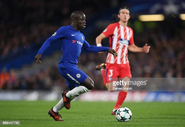 Golo Kante of Chelsea runs with the ball during the UEFA Champions League group C match between Chelsea FC and Atletico Madrid at Stamford Bridge on...