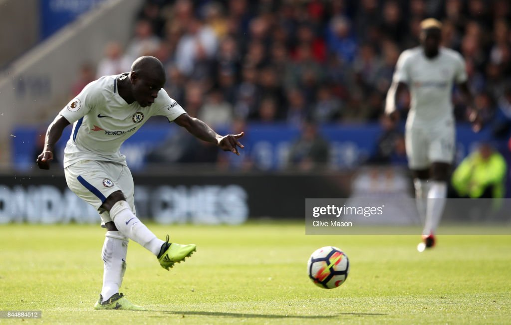 N'Golo Kante of Chelsea scores his sides second goal during the Premier League match between Leicester City and Chelsea at The King Power Stadium on September 9, 2017 in Leicester, England.