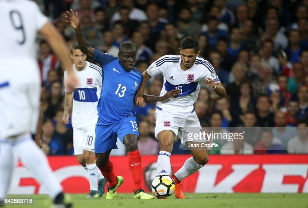 Golo Kante of France Aldin Skenderovic of Luxembourg during the FIFA 2018 World Cup Qualifier between France and Luxembourg at the Stadium on...