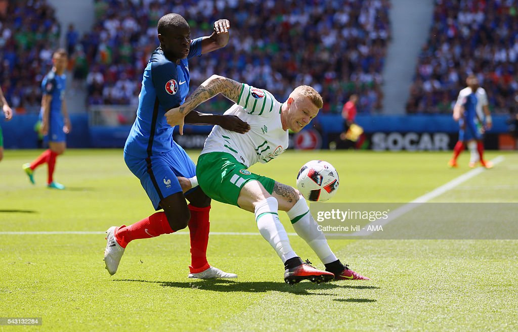 N'Golo Kante of France and <a gi-track='captionPersonalityLinkClicked' href=/galleries/search?phrase=James+McClean&family=editorial&specificpeople=3699424 ng-click='$event.stopPropagation()'>James McClean</a> of Republic of Ireland during the UEFA EURO 2016 Round of 16 match between France and Republic of Ireland at Stade des Lumieres on June 26, 2016 in Lyon, France.