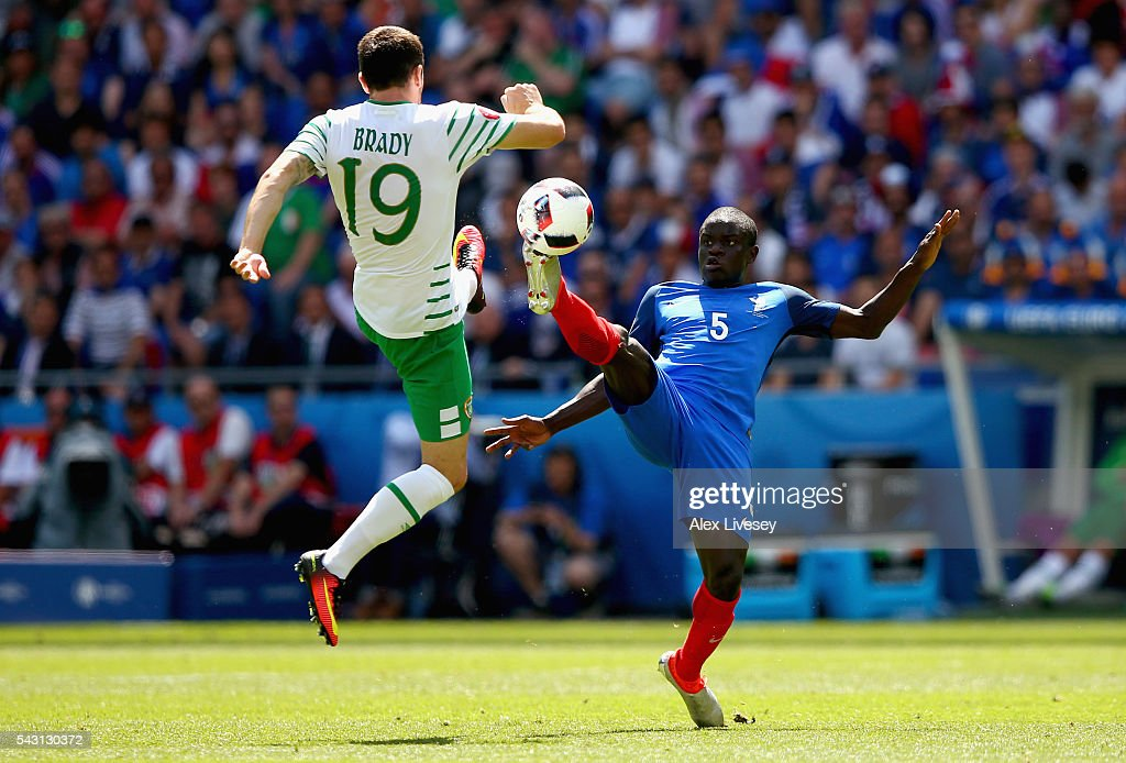N'Golo Kante of France and <a gi-track='captionPersonalityLinkClicked' href=/galleries/search?phrase=Robbie+Brady&family=editorial&specificpeople=9028769 ng-click='$event.stopPropagation()'>Robbie Brady</a> of Republic of Ireland compete for the ball during the UEFA EURO 2016 round of 16 match between France and Republic of Ireland at Stade des Lumieres on June 26, 2016 in Lyon, France.