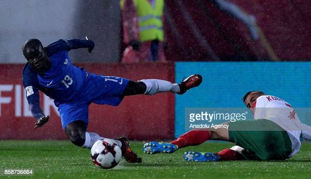 Golo Kante of France in action against Georgi Kostadinov of Bulgaria during the FIFA 2018 World Cup Qualifier between Bulgaria and France at The...
