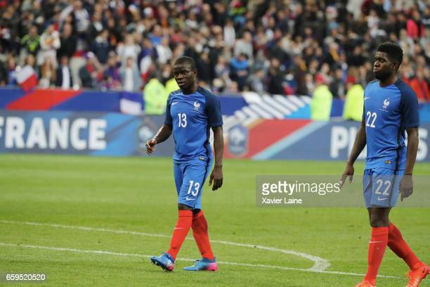 Golo Kante of France is disapointed during the Friendly game between France and Spain at Stade de France on march 28 2017 in Paris France