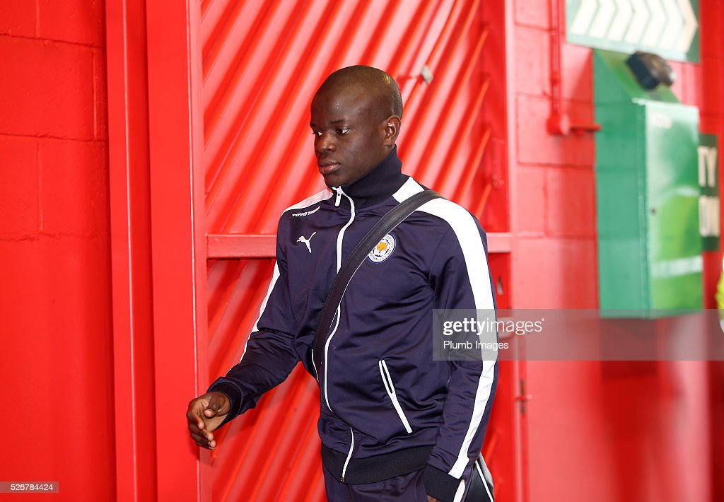N'Golo Kante of Leicester City arrives at Old Trafford ahead of the Premier League match between Manchester United and Leicester City at Old Trafford on May 01, 2016 in Manchester, United Kingdom.