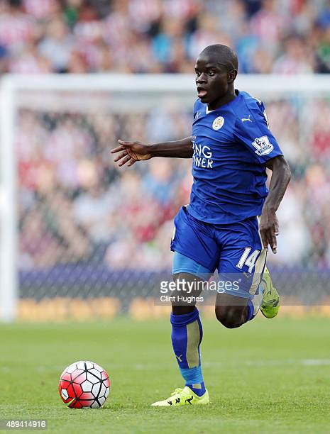 Golo Kante of Leicester City in action during the Barclays Premier League match between Stoke City and Leicester City at Britannia Stadium on...