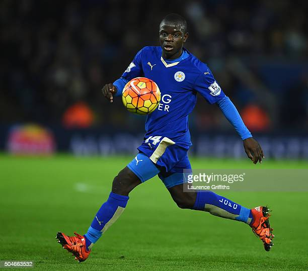 Golo Kante of Leicester City in action during the Barclays Premier League match between Leicester City and Manchester City at The King Power Stadium...