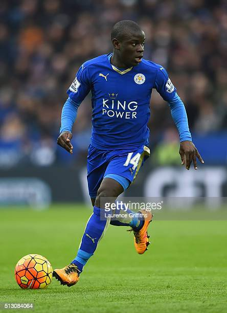 Golo Kante of Leicester City in action during the Barclays Premier League match between Leicester City and Norwich City at The King Power Stadium on...