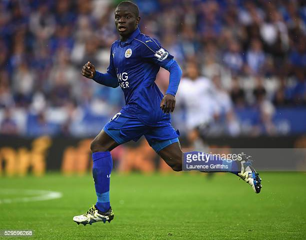 Golo Kante of Leicester City in action during the Barclays Premier League match between Leicester City and Everton at The King Power Stadium on May 7...