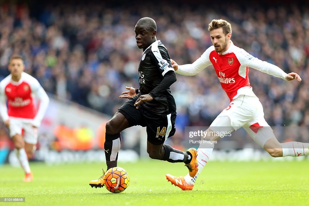 N'Golo Kante of Leicester City in action with <a gi-track='captionPersonalityLinkClicked' href=/galleries/search?phrase=Aaron+Ramsey&family=editorial&specificpeople=4784114 ng-click='$event.stopPropagation()'>Aaron Ramsey</a> of Arsenal during the Premier League match between Arsenal and Leicester City at Emirates Stadium on February 14, 2016 in London, United Kingdom.