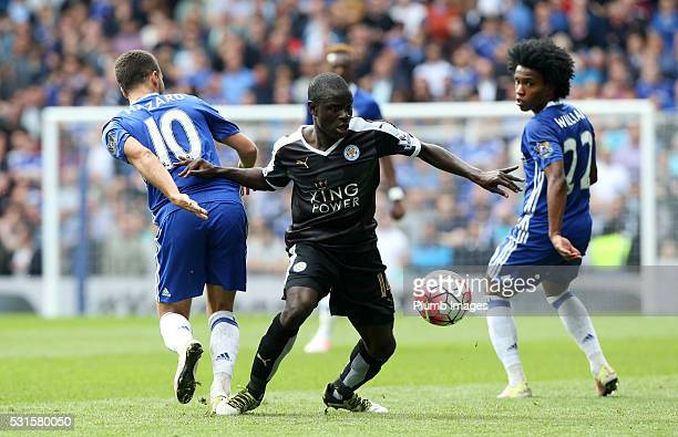 Golo Kante of Leicester City in action with Eden Hazard of Chelsea during the Premier League match between Chelsea and Leicester City at Stamford...