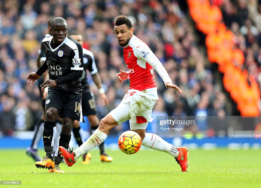 N'Golo Kante of Leicester City in action with <a gi-track='captionPersonalityLinkClicked' href=/galleries/search?phrase=Francis+Coquelin&family=editorial&specificpeople=8957797 ng-click='$event.stopPropagation()'>Francis Coquelin</a> of Arsenal during the Premier League match between Arsenal and Leicester City at Emirates Stadium on February 14, 2016 in London, United Kingdom.