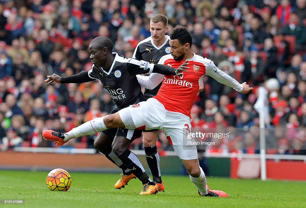N'Golo Kante of Leicester City in action with Francis Coquelin of Arsenal during the Premier League match between Arsenal and Leicester City at Emirates Stadium on February 14, 2016 in London, United Kingdom.