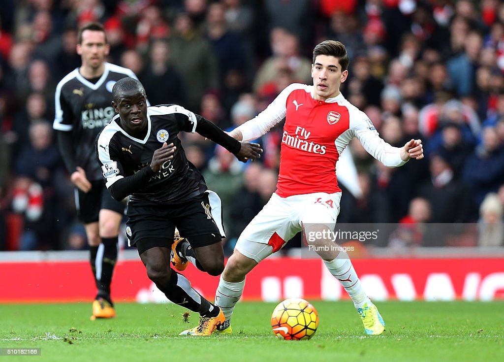 N'Golo Kante of Leicester City in action with Hector Bellerin of Arsenal during the Barclays Premier League match between Arsenal and Leicester City at Emirates Stadium on February 14, 2016 in London, United Kingdom.