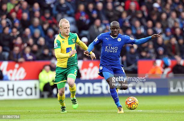 Golo Kante of Leicester City in action with Steven Naismith of Norwich City during the Barclays Premier League match between Leicester City and...