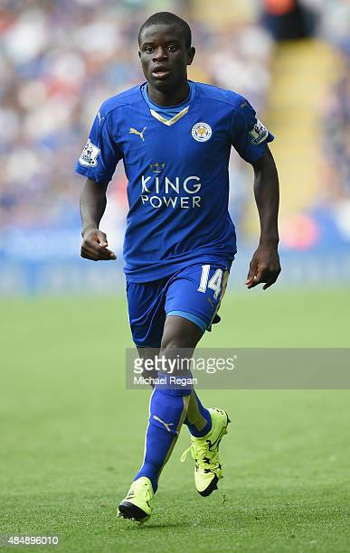 Golo Kante of Leicester looks on during the Barclays Premier League match between Leicester City and Tottenham Hotspur on August 22 2015 in Leicester...