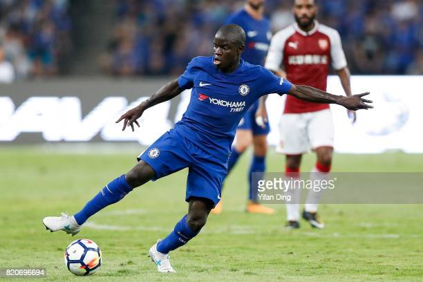 Golo Kante reacts during the PreSeason Friendly match between Arsenal FC and Chelsea FC at Birds Nest on July 22 2017 in Beijing China
