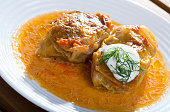 Golubtsy (stuffed cabbage) with chopped meat rice and vegetables – East European cuisine