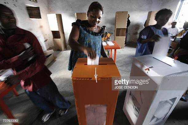 A Congolese woman casts her vote at a polling station 29 October 2006 in Goma The people of the Democratic Republic of Congo were voting in landmark...