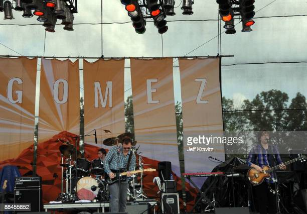 Gomez performs on stage during Bonnaroo 2009 on June 12 2009 in Manchester Tennessee