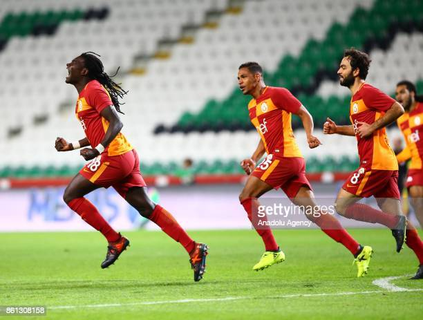 Gomis of Galatasaray celebrates after scoring a goal during the Turkish Super Lig soccer match between Atiker Konyaspor and Galatasaray at Konya...