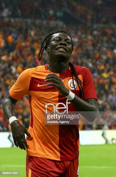 Gomis of Galatasaray gestures after missing a chance to score during the Turkish Super Lig soccer match between Galatasaray and Kardemir Karabukspor...