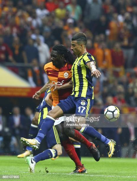 Gomis of Galatasaray in action against Nabil Dirar of Fenerbahce during a Turkish Super Lig match between Galatasaray and Fenerbahce at Ali Sami Yen...