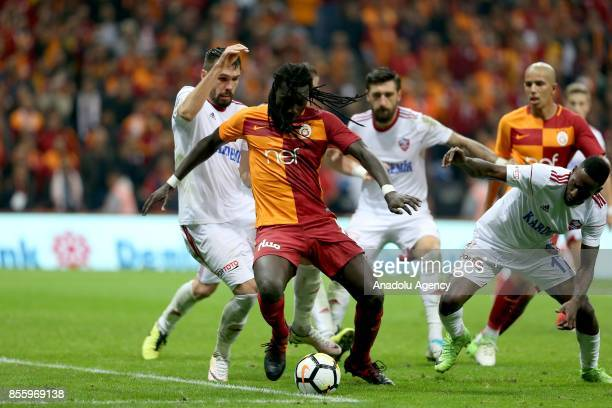 Gomis of Galatasaray in action during the Turkish Super Lig soccer match between Galatasaray and Kardemir Karabukspor at Turk Telekom Stadium in...