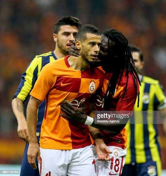 Gomis warns Belhanda of Galatasaray during the Turkish Super Lig match between Galatasaray and Fenerbahce at Ali Sami Yen Sports Complex Turk Telekom...