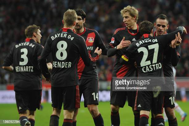 Gonazalo Castro of Leverkusen celebrates with teammates after scoring his team's second goal during the Bundesliga match between Bayer 04 Leverkusen...