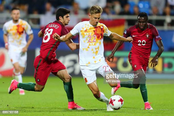 Goncalo Guedes Marcos Llorente Bruma during the UEFA European Under21 match between Portugal and Spain on June 20 2017 in Gdynia Poland