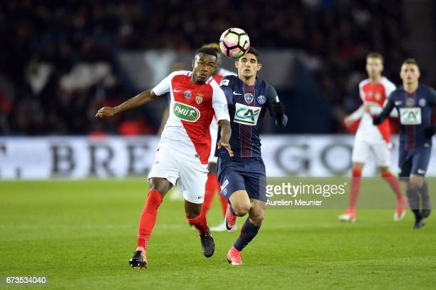 Goncalo Guedes of Paris SaintGermain fights for the ball during the French Cup SemiFinal match between Paris SaintGermain and As Monaco at Parc des...