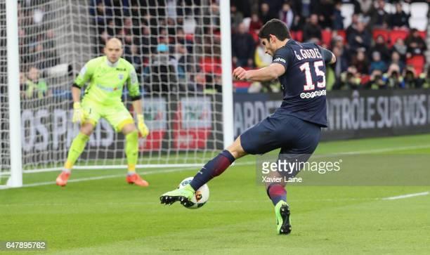 Goncalo Guedes of Paris SaintGermain in action during the French Ligue 1 match between Paris SaintGermain and AS NancyLorraine at Parc des Princes on...