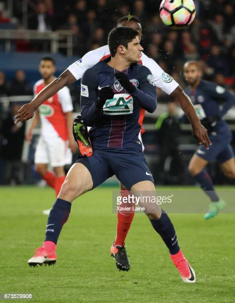 Goncalo Guedes of Paris SaintGermain in action during the French Cup SemiFinal match between Paris SaintGermain and As Monaco at Parc des Princes on...
